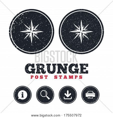 Grunge post stamps. Compass sign icon. Windrose navigation symbol. Information, download and printer signs. Aged texture web buttons. Vector