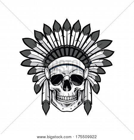 Skull of Native American Warrior. Vector Illustration