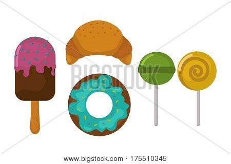 Sweets food bakery dessert sugar confectionery lollipop design and snack chocolate cake colorful holiday candy caramel icon vector illustration. Party shop sweet delicious spiral striped symbol.