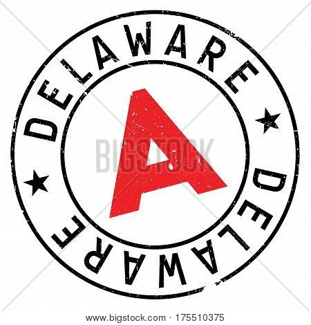 Delaware rubber stamp. Grunge design with dust scratches. Effects can be easily removed for a clean, crisp look. Color is easily changed.