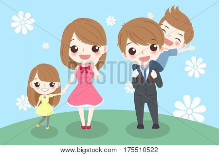 happy cartoon family smile happily on grass