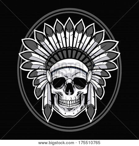 Skull of Native American Indian Warrior. Vector Illustration