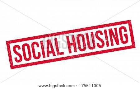 Social Housing rubber stamp. Grunge design with dust scratches. Effects can be easily removed for a clean, crisp look. Color is easily changed.