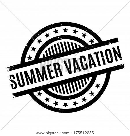 Summer Vacation rubber stamp. Grunge design with dust scratches. Effects can be easily removed for a clean, crisp look. Color is easily changed.