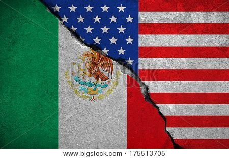 mexico flag on broken brick wall and half usa united states of america flag crisis trump president and mexican for construction the separation wall on the border concept