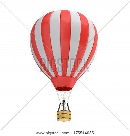 3d rendering of a red and white hot air balloon with a basket on white background. Air travel and aircraft. Tourism and recreation. Sky objects.