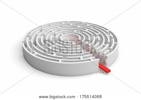 3d rendering of a round maze with a red arrow borrowing to the center isolated on white background. Mazes and labyrinths. Problems and solutions. Unexpected approach and risk.