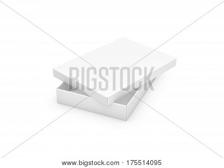 3d rendering of a very slim rectangle box with a lid lying unevenly on top, all white in side view. Boxes and containers. Delivery and packing. Gifts and parcels.