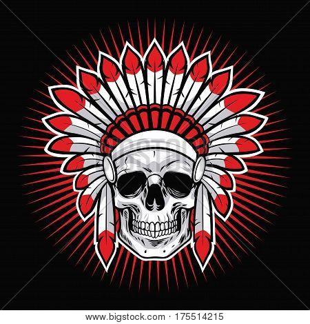 Skull of Indian Native American Warrior Vector Mascot