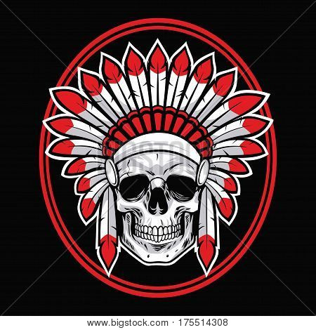 Skull of Indian Native American Warrior Vector With Red Feather