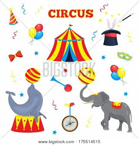 Set of vector circus elements. A collection of circus accessories tent, balloon, horn, magician hat, magic stick, bow tie, monocycle, serpentine, circus animal elephant and seal with ball. Funny circus characters for the design of circus tickets, brochure