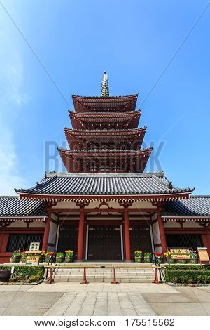 Tokyo Japan - April 9 2016: Sensoji-ji Temple or Asakusa Kannon Temple is a Buddhist temple located in Asakusa Tokyo. Japan.