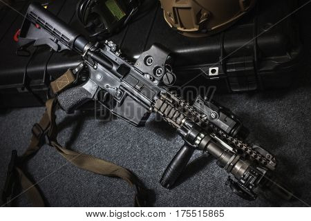 assault rifle ar15 model mk18 mod1 for background