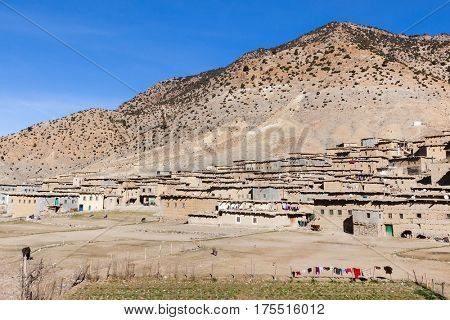 Small remote village  in the High Atlas Mountains  in Morocco. winter late in the afternoon