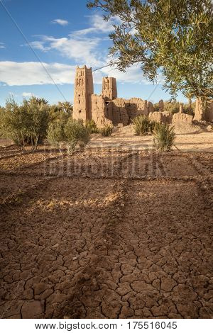 Departed Kasbah  Morocco. The ruins of one of Morocco's fortress-palaces, Kasbah or ksar, situated in the arid Atlas Mountains near Ait Benhaddou.