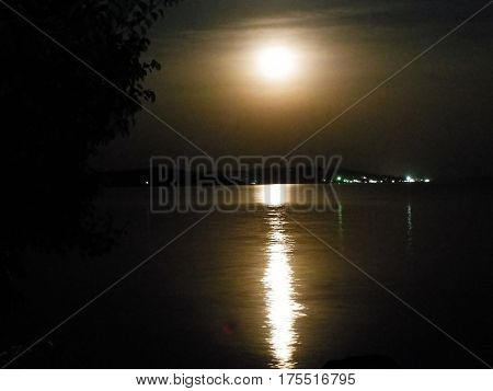 Beautiful quiet moonlit night on the shore of beautiful lake
