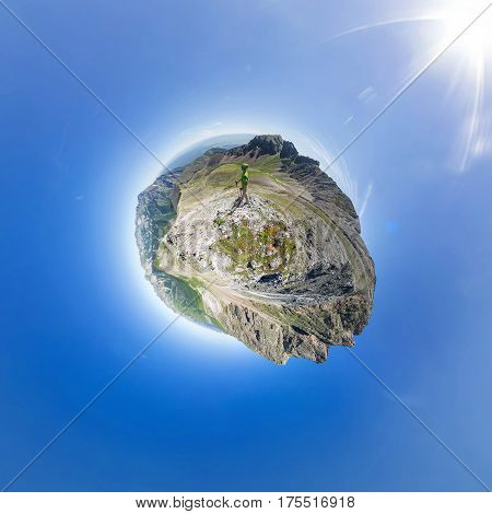 Spherical Panorama 360 To 180 The Man Stands On Top In The Mountains