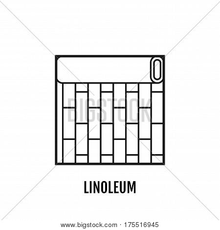 Black and white flat icon of a roll of linoleum. Floor covering, material for repair of interior