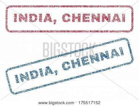 India Chennai text textile seal stamp watermarks. Blue red fabric vectorized texture. Vector tag inside rounded rectangular shape. Rubber sticker with fiber textile structure.
