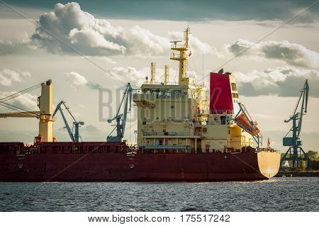 Red Cargo Ship's Stern