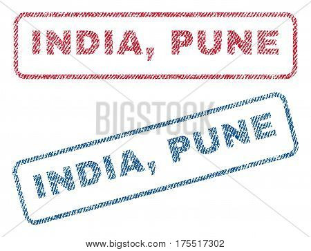 India Pune text textile seal stamp watermarks. Blue red fabric vectorized texture. Vector tag inside rounded rectangular shape. Rubber emblem with fiber textile structure.