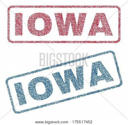 Iowa text textile seal stamp watermarks. Blue red fabric vectorized texture. Vector caption inside rounded rectangular banner. Rubber emblem with fiber textile structure.