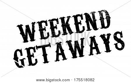 Weekend Getaways rubber stamp. Grunge design with dust scratches. Effects can be easily removed for a clean, crisp look. Color is easily changed.