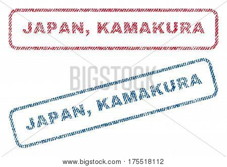 Japan Kamakura text textile seal stamp watermarks. Blue red fabric vectorized texture. Vector caption inside rounded rectangular shape. Rubber sticker with fiber textile structure.