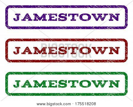 Jamestown watermark stamp. Text tag inside rounded rectangle frame with grunge design style. Vector variants are indigo blue, red, green ink colors. Rubber seal stamp with dirty texture.