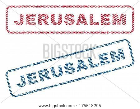 Jerusalem text textile seal stamp watermarks. Blue red fabric vectorized texture. Vector tag inside rounded rectangular banner. Rubber emblem with fiber textile structure.