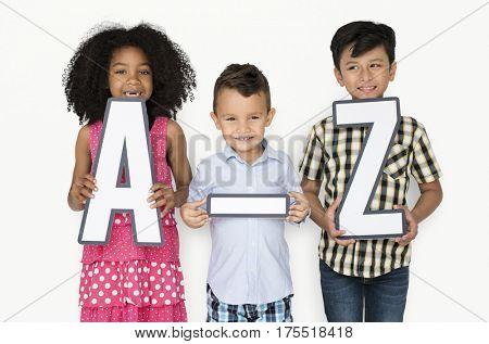 Little Children Holding A-Z Papercraft