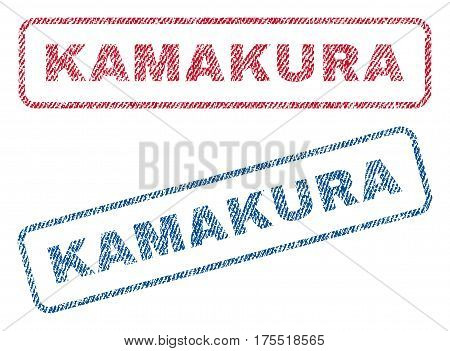 Kamakura text textile seal stamp watermarks. Blue red fabric vectorized texture. Vector tag inside rounded rectangular shape. Rubber sign with fiber textile structure.
