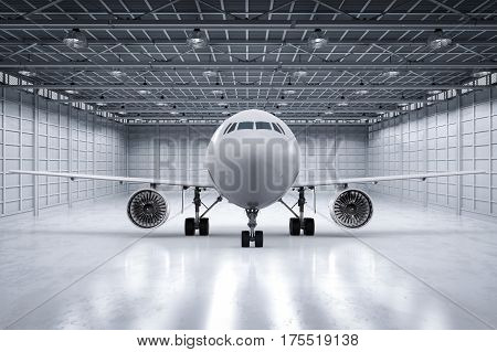 3d rendering airplane or jet plane in hangar