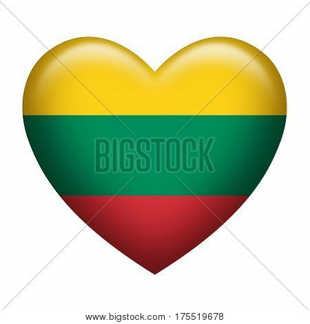 Heart shape of Lithuanian insignia isolated on white