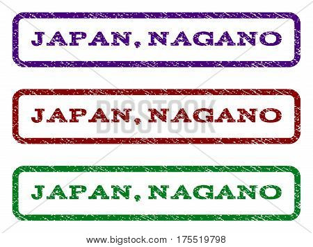 Japan, Nagano watermark stamp. Text tag inside rounded rectangle with grunge design style. Vector variants are indigo blue, red, green ink colors. Rubber seal stamp with dirty texture.