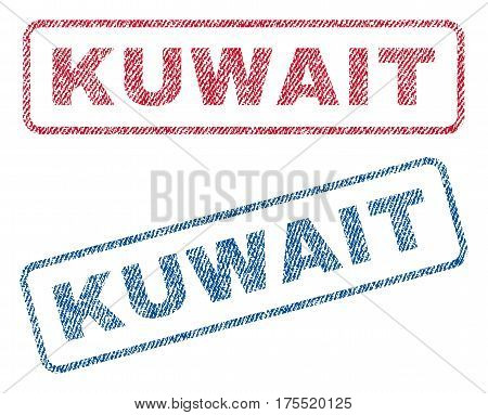 Kuwait text textile seal stamp watermarks. Blue red fabric vectorized texture. Vector tag inside rounded rectangular shape. Rubber sign with fiber textile structure.