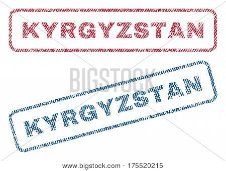 Kyrgyzstan text textile seal stamp watermarks. Blue red fabric vectorized texture. Vector tag inside rounded rectangular banner. Rubber emblem with fiber textile structure.