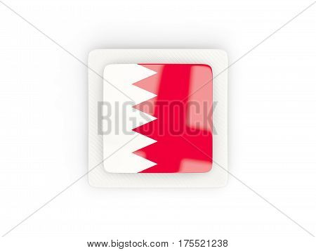 Square Carbon Icon With Flag Of Bahrain