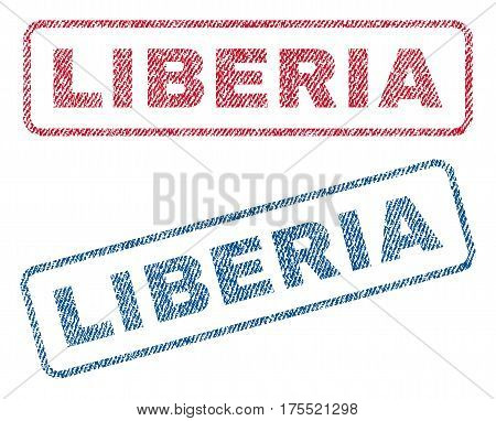 Liberia text textile seal stamp watermarks. Blue red fabric vectorized texture. Vector tag inside rounded rectangular banner. Rubber sign with fiber textile structure.