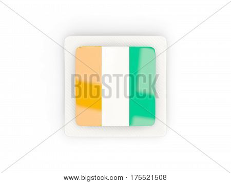 Square Carbon Icon With Flag Of Cote D Ivoire