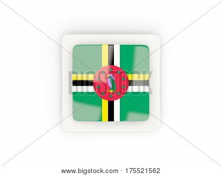 Square Carbon Icon With Flag Of Dominica