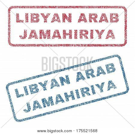 Libyan Arab Jamahiriya text textile seal stamp watermarks. Blue red fabric vectorized texture. Vector caption inside rounded rectangular banner. Rubber emblem with fiber textile structure.
