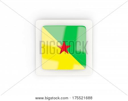 Square Carbon Icon With Flag Of French Guiana