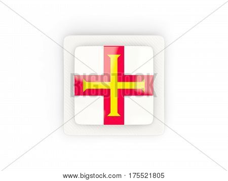 Square Carbon Icon With Flag Of Guernsey