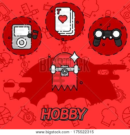 Hobby flat concept icons. Vector illustration, EPS 10