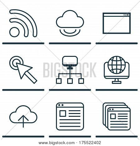 Set Of 9 World Wide Web Icons. Includes Program, Website Page, Data Synchronize And Other Symbols. Beautiful Design Elements.