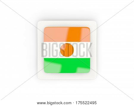 Square Carbon Icon With Flag Of Niger