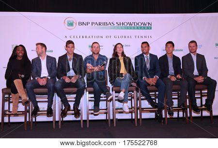 NEW YORK - MARCH 5, 2017: Tennis superstars during press conference before BNP Paribas Showdown 10th Anniversary tennis event at Essex House Hotel in New York
