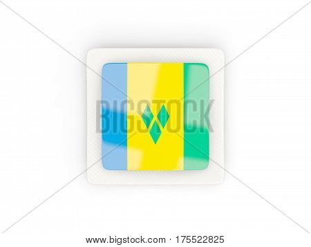 Square Carbon Icon With Flag Of Saint Vincent And The Grenadines