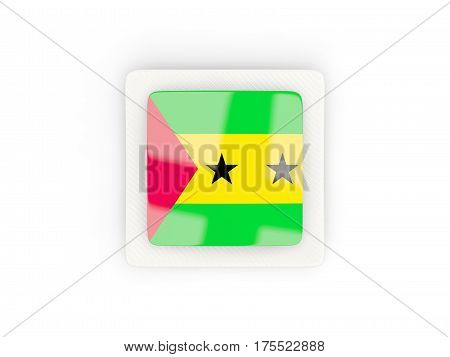 Square Carbon Icon With Flag Of Sao Tome And Principe